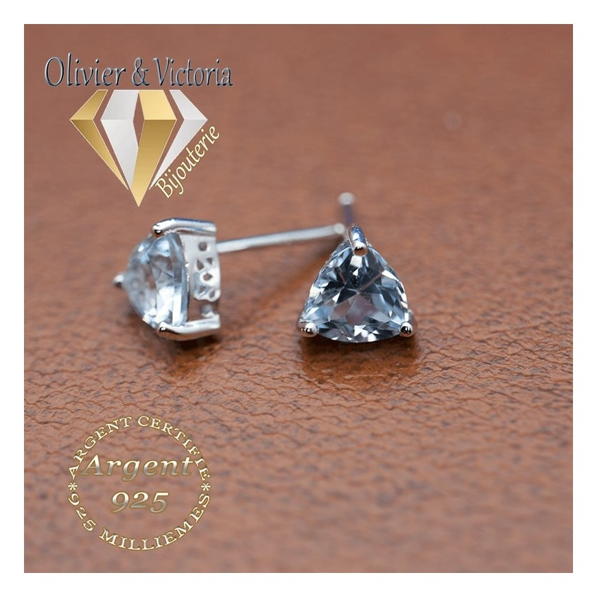 Collection Neptune - Boucles d'oreilles topaze bleue ciel triangles