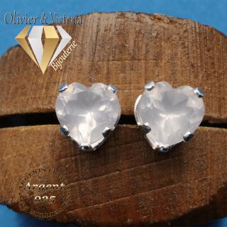 Boucles d'oreilles coeur en argent 925 et pierres quartz rose