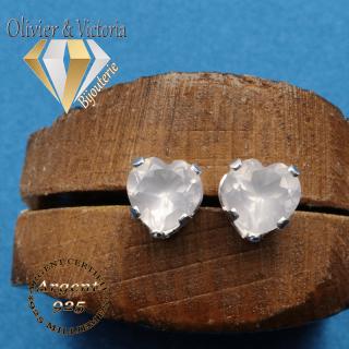 Boucles d'oreilles coeur de quartz rose naturel et argent 925