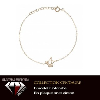 Bracelet colombe en plaqué or et chaîne