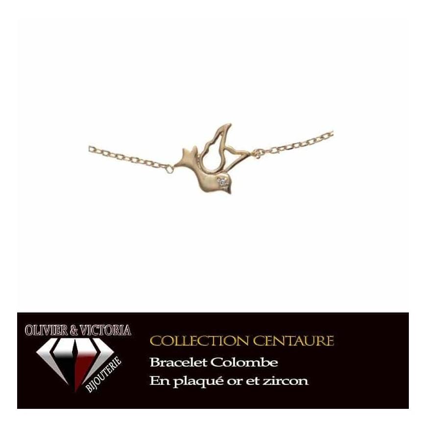 Bracelet colombe en plaqué or et chaîne de la collection Centaure