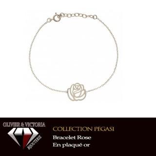 Bracelet Rose en plaqué or et chaîne pour bijou femme