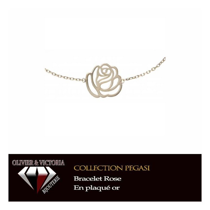 Bracelet Rose en plaqué or et chaîne de la collection pégasi fleurs
