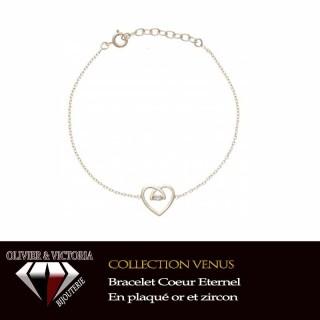 Bracelet Coeur Eternel en plaqué or et chaîne avec zircon
