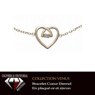 Bracelet Coeur Eternel en plaqué or et chaîne pour femme de la collection Vénus