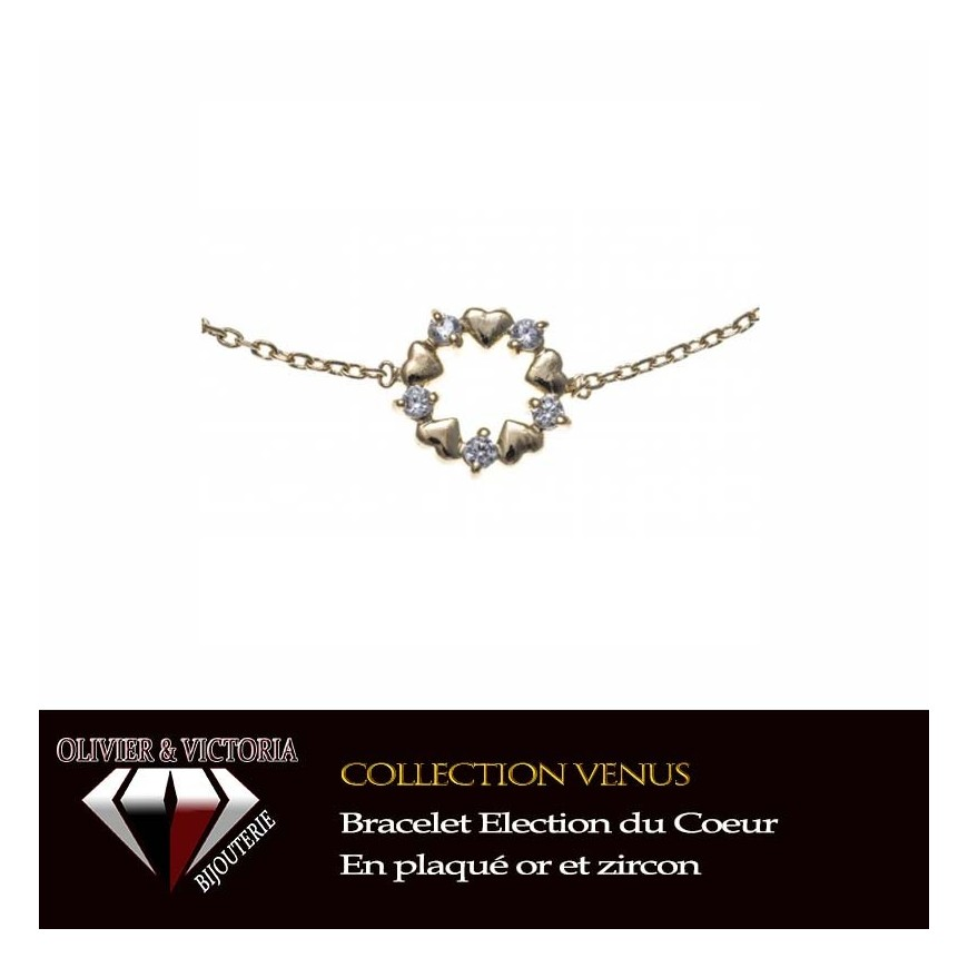 Bracelet Coeur Election en plaqué or et chaîne de la collection Vénus