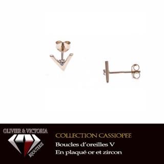 Boucles d'oreilles V en plaqué or et zircon de la collection femme Eridan