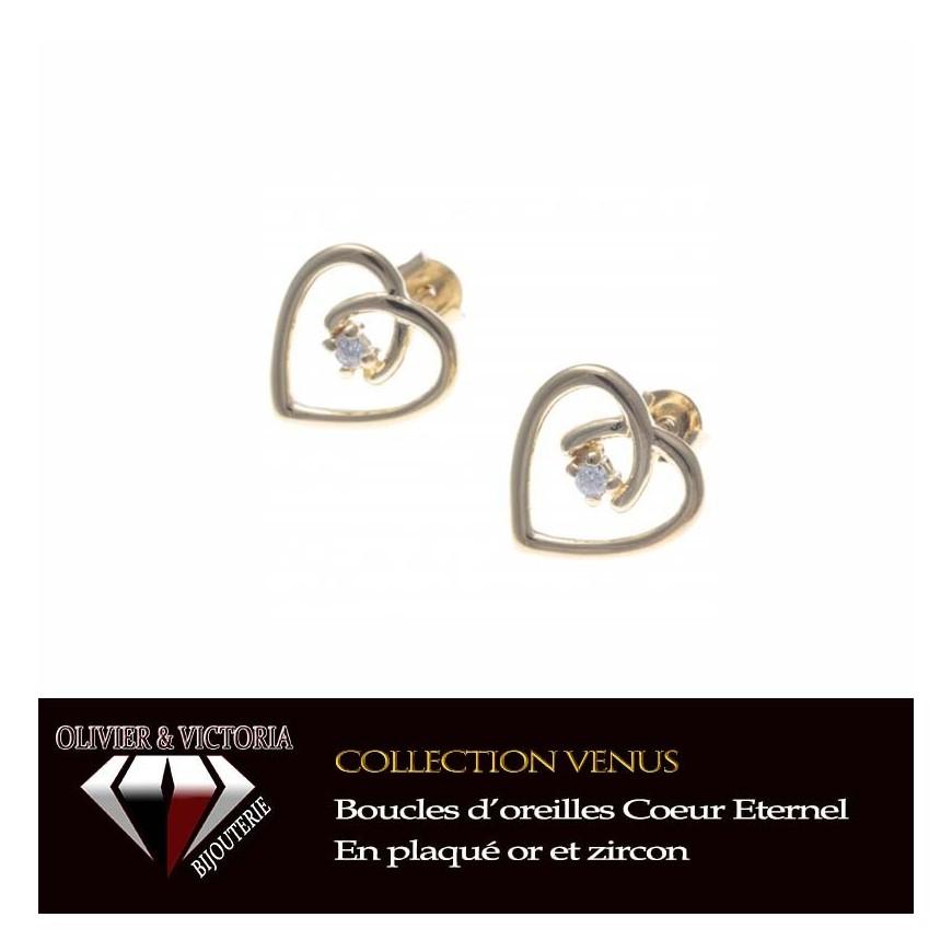 Boucles d'oreilles Coeur Eternel en plaqué or avec zircon