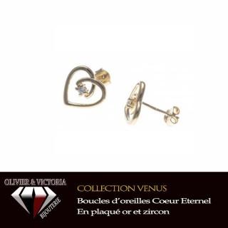Boucles d'oreilles Coeur Eternel en plaqué or pour femme de la collection Vénus