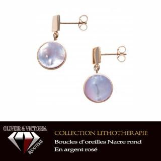 Boucles d'oreilles Nacre en argent rhodié couleur rosé de la collection lithothérapie