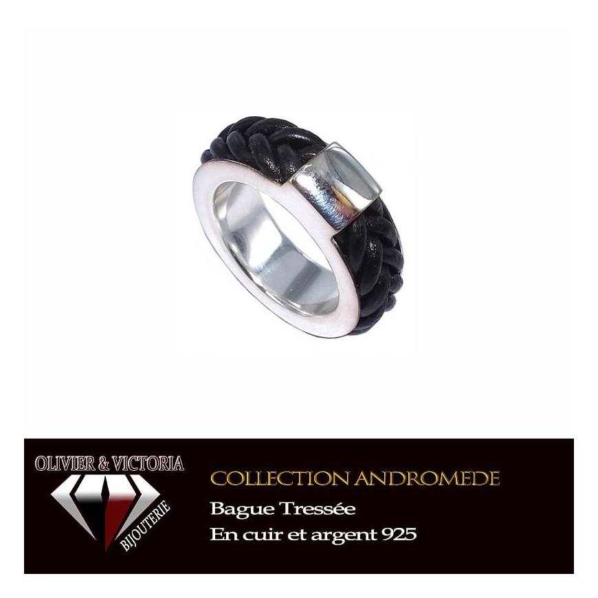 Bague Tressée en cuir et argent 925 collection Andromede